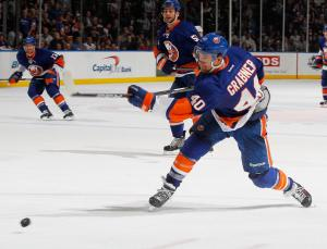 Grabner, who scored twice Tuesday, rips a puck down the ice against Florida. (Photo by Mike Stobe/NHLI via Getty Images)